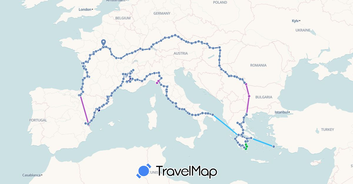 TravelMap itinerary: driving, bus, cycling, train, hiking, boat in Austria, Bulgaria, Switzerland, Germany, Spain, France, Greece, Hungary, Italy, Serbia, Slovakia (Europe)